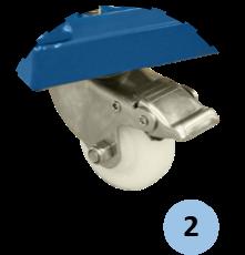 zoom bánh xe nhựa màu trắng lắp bên dưới thuận tiện cho việc di chuyển